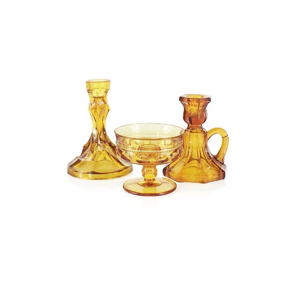 Amber Glass Taper Candlesticks
