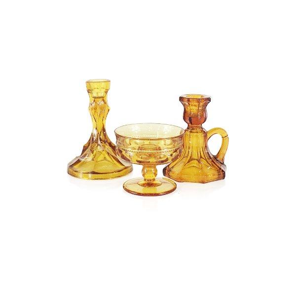 Amber Glass Taper Candlesticks