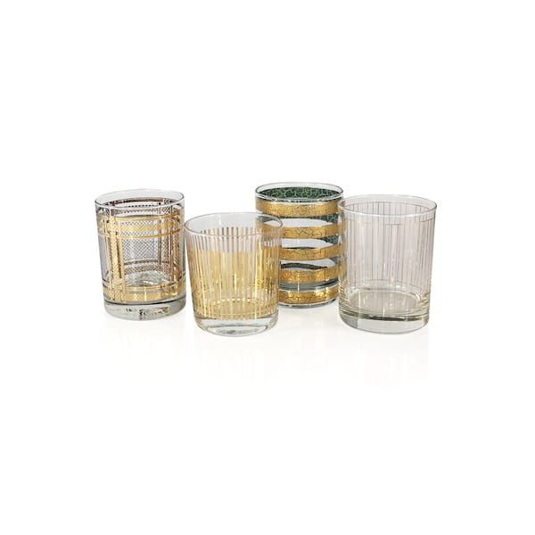 Vintage Gold Rocks Glassware