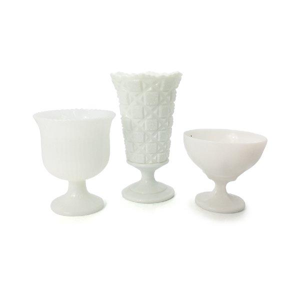 Milk Glass Pedestal Vases