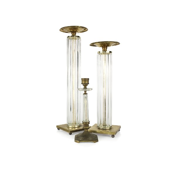 Brass/Clear Tall Candle Pillars