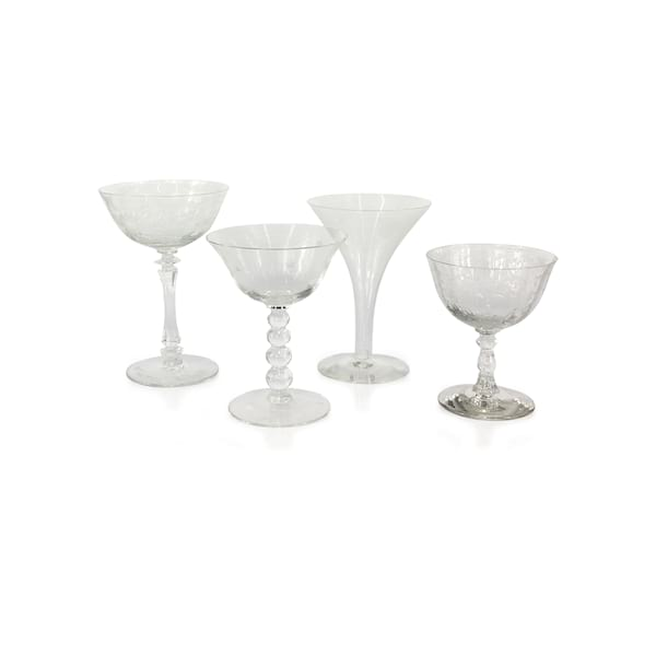 Clear Etched Champagne Coupes