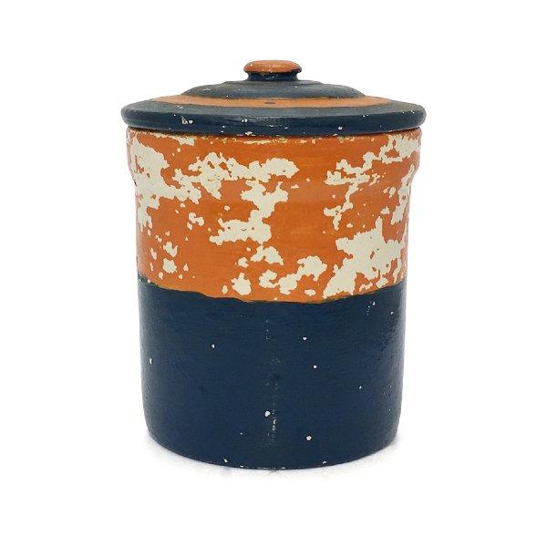 Vintage Orange/Blue Crock
