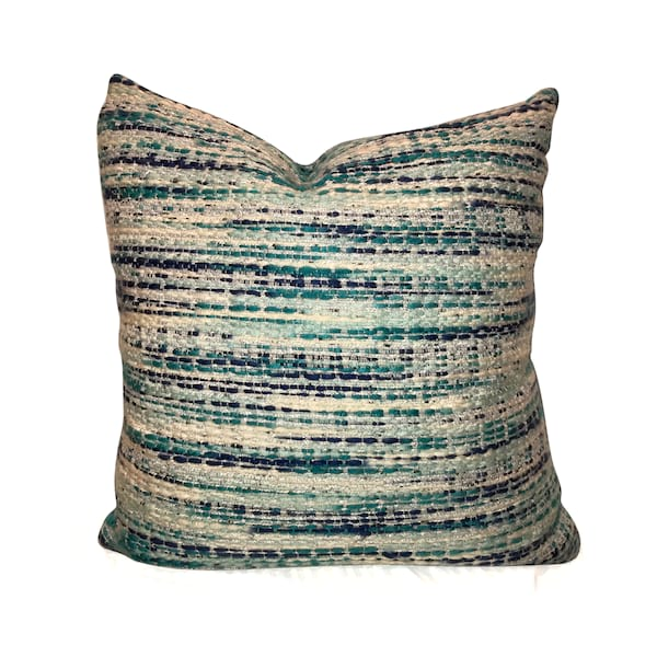 Blue/Turq/Aqua Textured Pillow