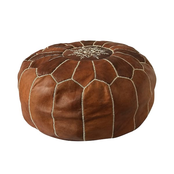 Morrocan Brown Leather Pouf