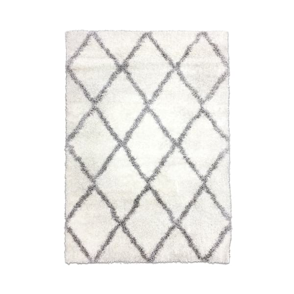 Grey//White Diamond Shag