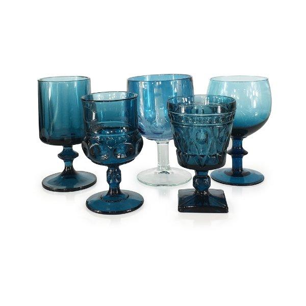 Smokey Blue Teal Goblets