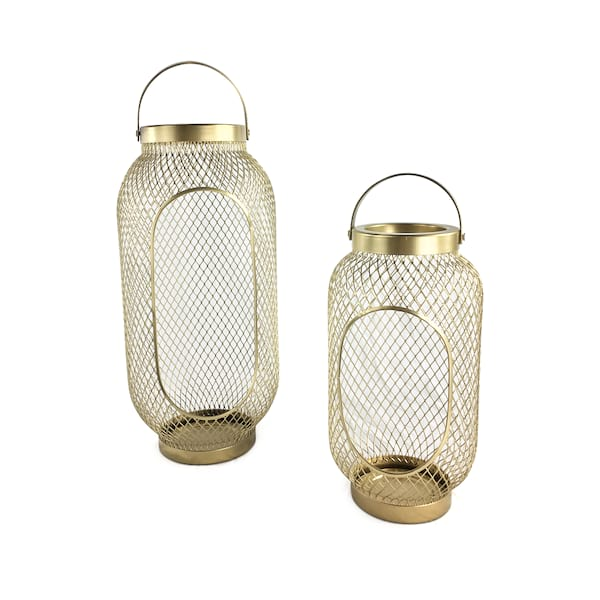 Gold Wire Mesh Lanterns