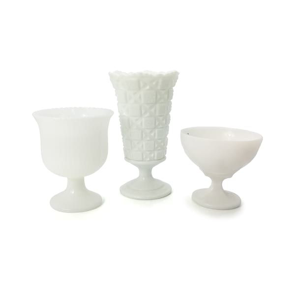 Milk Glass Pedestal Vases