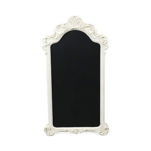 Tall White Ornate Chalkboard