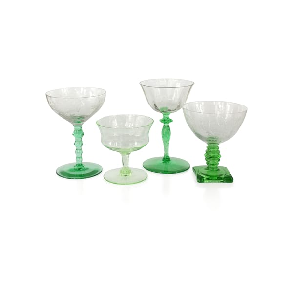 Green Champagne Coupes
