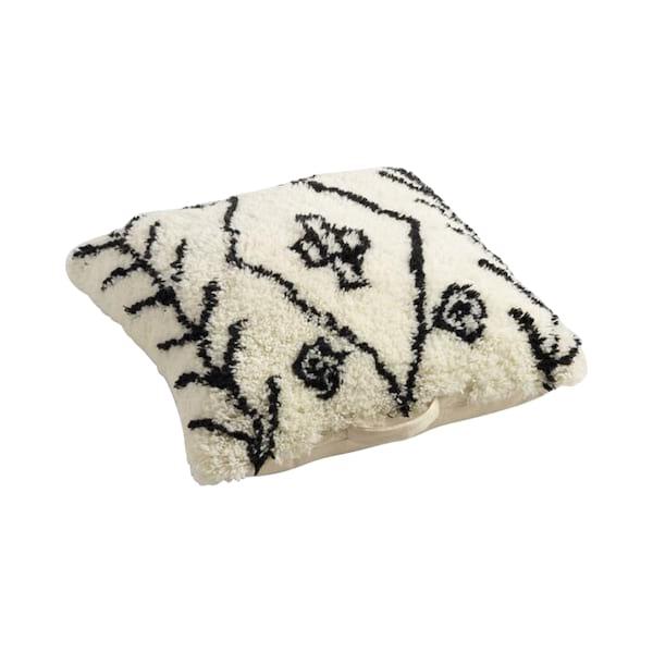 Black & White Wool Shag Floor Pillow