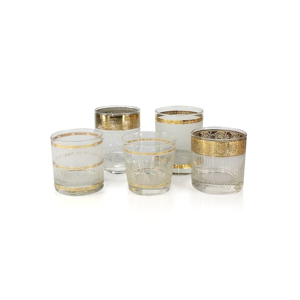 Vintage Gold Etched Rock's Glassware
