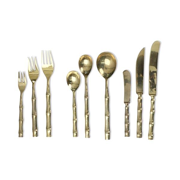 Vintage Gold Bamboo Flatware