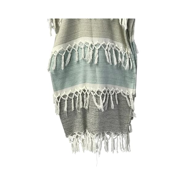 Aqua/Grey White Fringe Throw