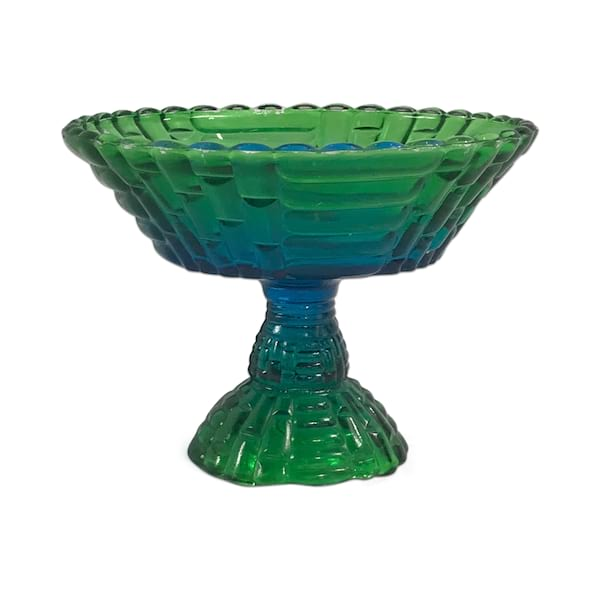Blue Green Glass Pedestal