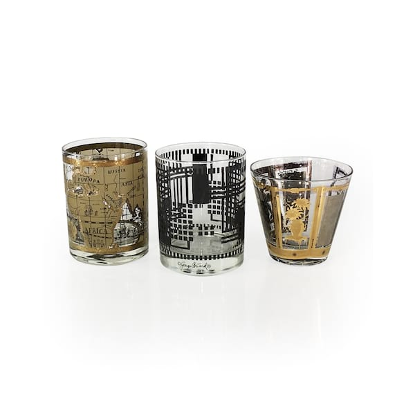 Vintage Black & Gold Rock's Glassware