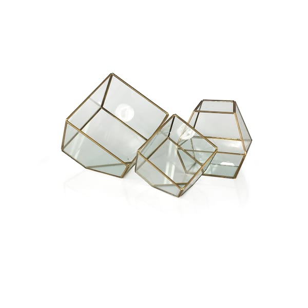 Gold /Glass Geo Boxes