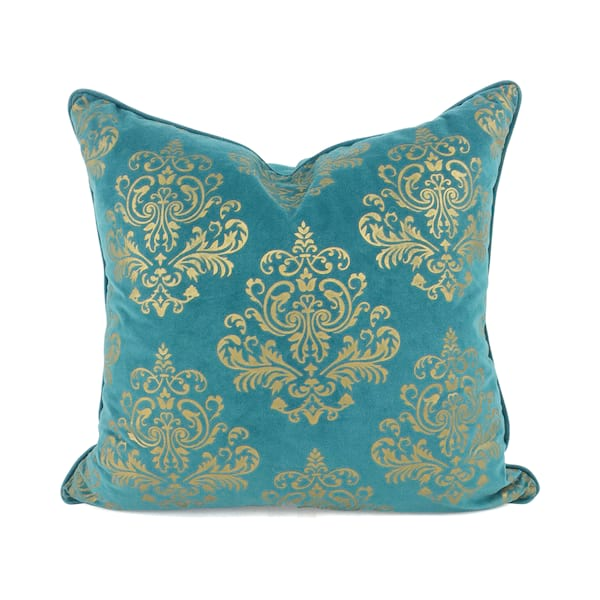 Teal//Gold Damask