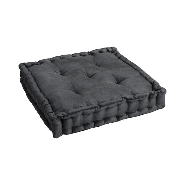 Dark Charcoal Velvet Floor Cushion