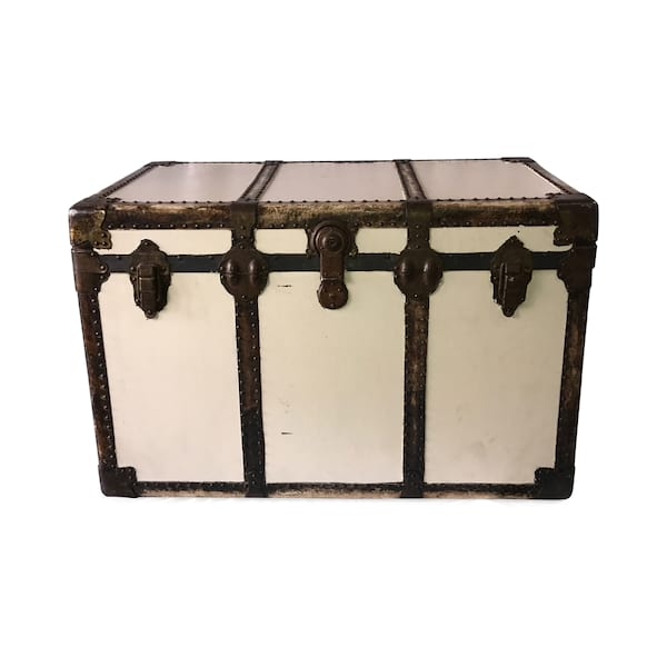 White Steamer Trunk