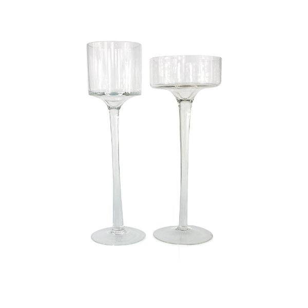 Tall Clear Glass Candleholders