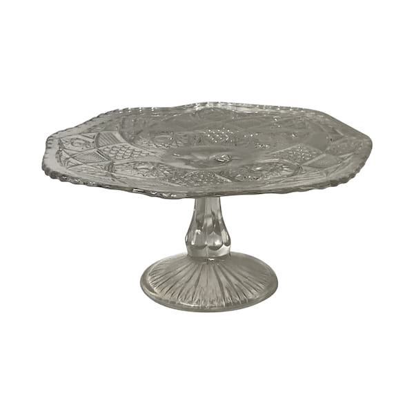 Clear Pressed Glass Cake Stand #6