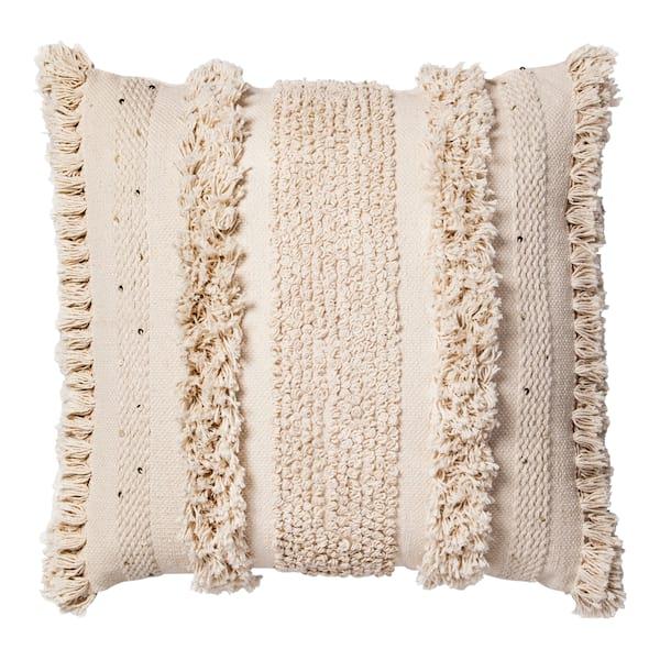 Cream Fringe Oversize Pillow