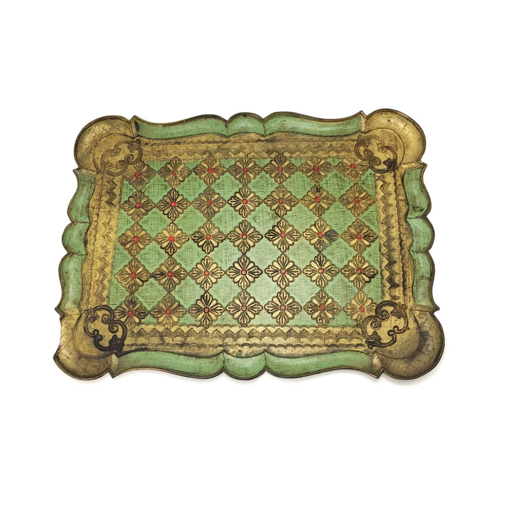 Green & Gold Florentine Tray #1