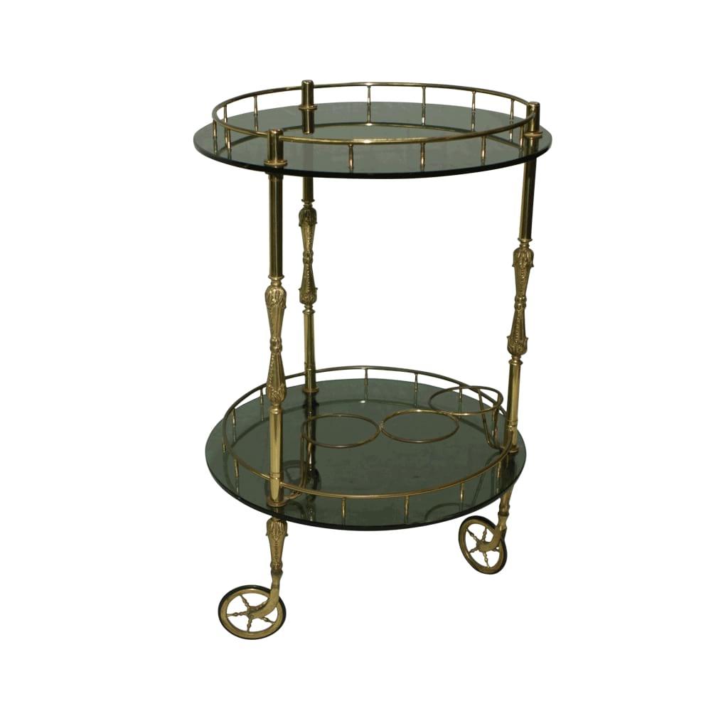 Round Brass Bar Cart