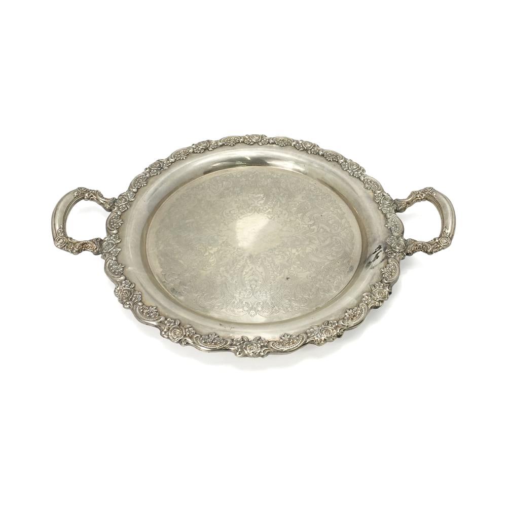 Ornate Round Silver Tray