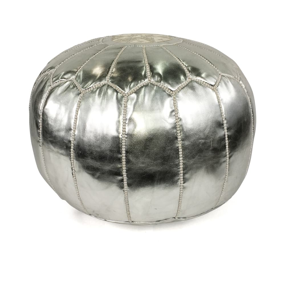 Silver Leather Pouf