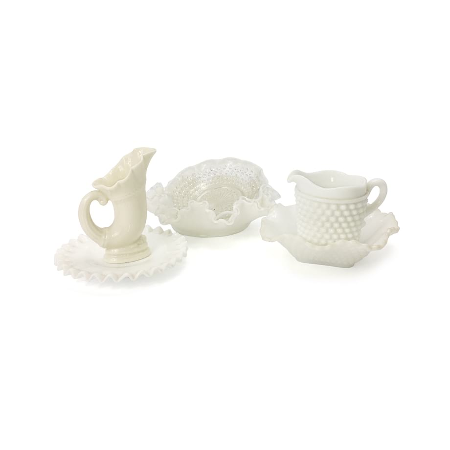 Milk Glass Small Vases & Bowls