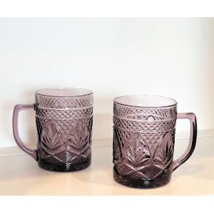 Purple Diamond Cut Mugs
