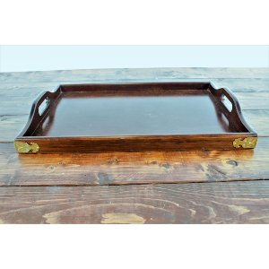 Wood Tray with Gold Corners