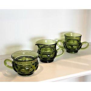 Green Glass Cream & Sugar Set