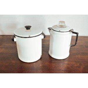 White Porcelein Coffe Pot and Soup Pot