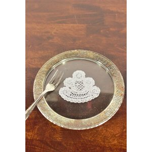 Gold Rim with Doily Center Cake Plate