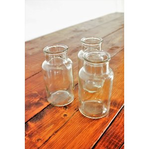 Small Clear Bottles/Ribbed Vase