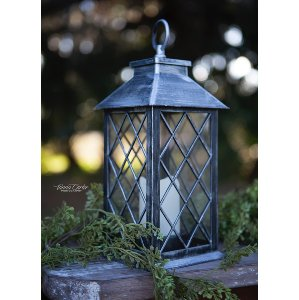 Silver Plastic Lantern with LED Candle