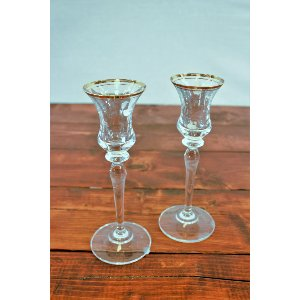 Glass with Gold Rim Candlestick
