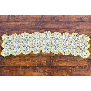 Yellow and White Crocheted Runner