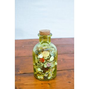 Green Glass with Cork/Button Bottle