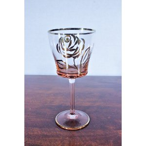 Pink Wine Glass with Gold Flower