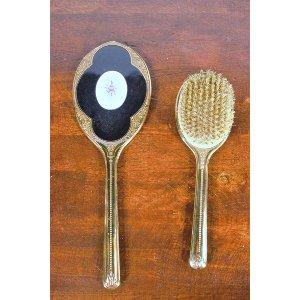 Vanity Brush and Mirror