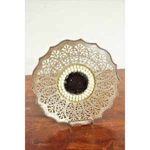 Decorative Gold Platter with Mirror and Pearl Center