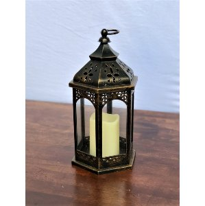 Bronze Plastic Lantern with Candle