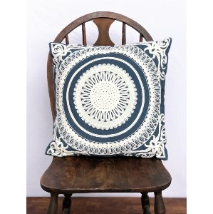 Blue and White Aztec Pillow