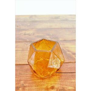 Amber Glass Geometric Votive
