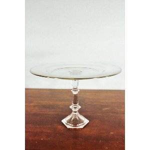 Gold Rim Glass Dessert Stand